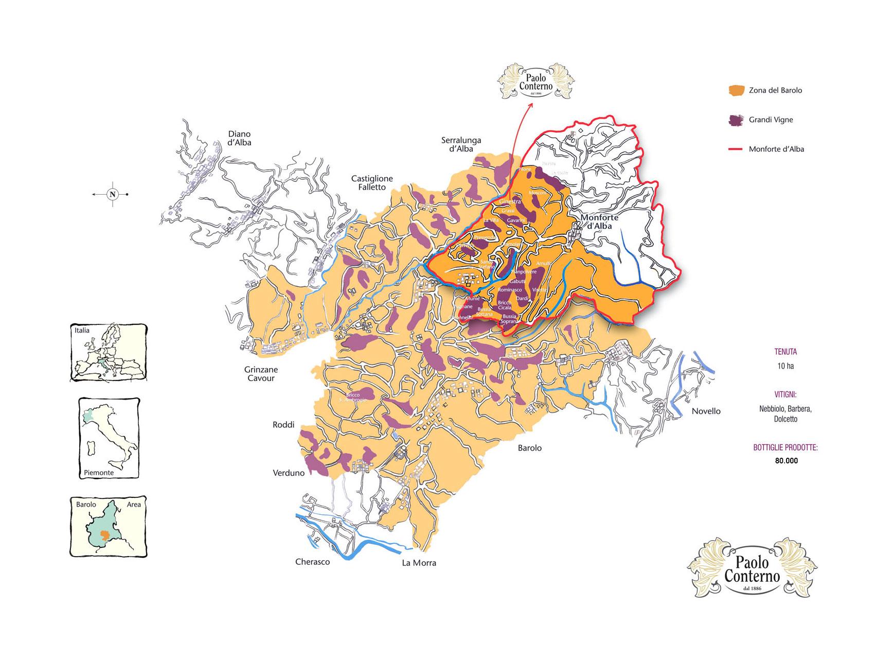 Cartina 1500.Cartina Barolo Paoloconterno 1500 Paolo Conterno Vini
